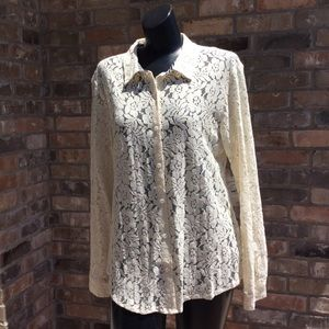 Volcom Ivory Lace Button Down Blouse NWT Sz Medium